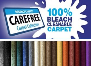 carefree stain resistant carpets from regency are 100 bleach cleanable and in a wide range of colours